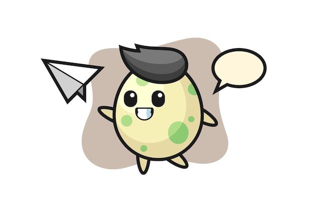 Gefleckte ei-cartoon-figur, die papierflugzeug wirft, niedliches design für t-shirt, aufkleber, logo-element