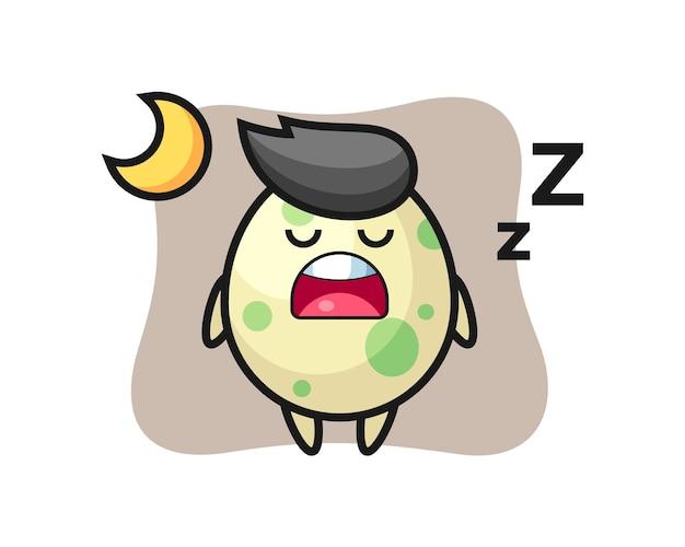 Gefleckte ei-charakterillustration, die nachts schläft, niedliches stildesign für t-shirt, aufkleber, logo-element