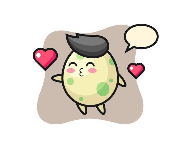 Gefleckter ei-charakter-cartoon mit küssender geste, süßem stildesign für t-shirt, aufkleber, logo-element