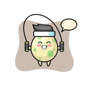 Gefleckter ei-charakter-cartoon mit springseil, süßes design für t-shirt, aufkleber, logo-element