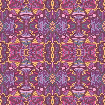 Gefliestes ethnisches blumenmuster für stoff. nahtloses muster des abstrakten geometrischen mosaikweines dekorativ.