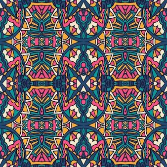 Gefliestes ethnisches buntes muster. abstrakte geometrische retro-blumendamast nahtlose muster dekorativ.