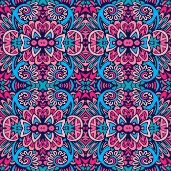 Gefliestes ethnisches muster für stoff. nahtloses muster des abstrakten geometrischen mosaikweines dekorativ.