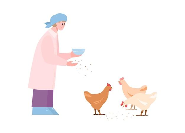 Geflügelfrau füttert den hühnerkarikatur isoliert