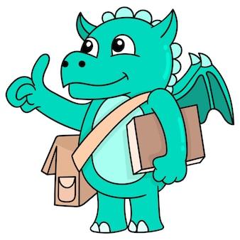 Geflügelte dinosaurier, die bücher tragen, lernen zur schule, vektorgrafiken. doodle symbolbild kawaii.