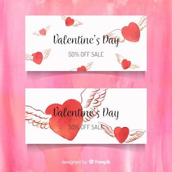 Geflügelte herzen valentine sale banner
