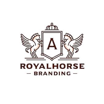 Geflügeltes buchstabenkamm-logo-design der geflügelten pferde