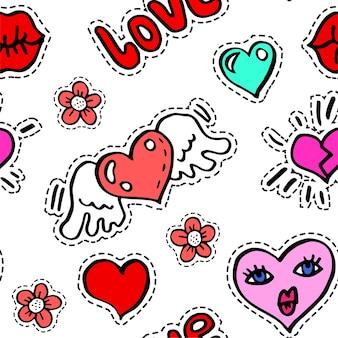 Geflügeltes herz und charakter mit gesicht, blumen und nahtlosem muster der aufschrift. patches oder aufkleber mit blühenden wildblumen, symbolen mit gebrochenem herzen. romantische dekorationen für valentinstagvektor in der wohnung