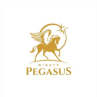 Geflügeltes pferd für maskottchen-logo