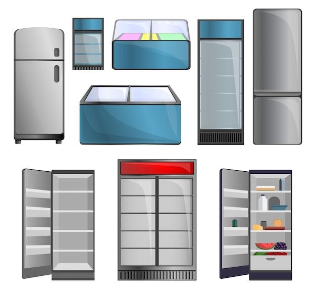 Gefrierschrank-icon-set. karikatursatz gefrierschrankvektorikonen für webdesign