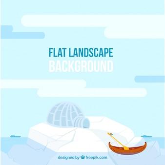 Gefrorene landschaft mit einem iglu