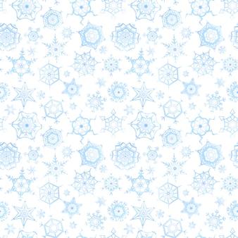 Gefrorene schneeflocken auf weißem hintergrund, nahtloses muster des winters