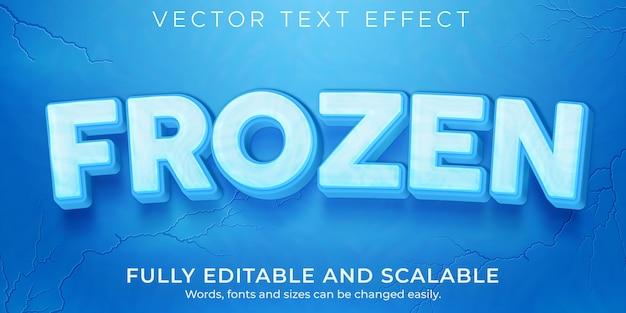 Gefrorener eis-texteffekt bearbeitbarer schnee- und wintertextstil
