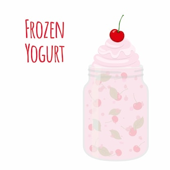 Gefrorener joghurt mit kirsche im weckglas.