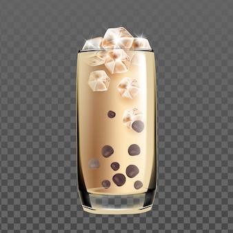 Gefrorenes kaltes kaffeegetränkglas mit schokoladen-vektor. kaffee-energie-köstliches getränk mit milch und eiswürfeln in der schale. frische aromatische barista-morgen-frühstück-getränk-vorlage realistische 3d-illustration
