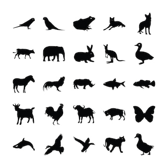 Gefüllte icon design von tieren