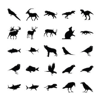 Gefüllte piktogramme von tieren