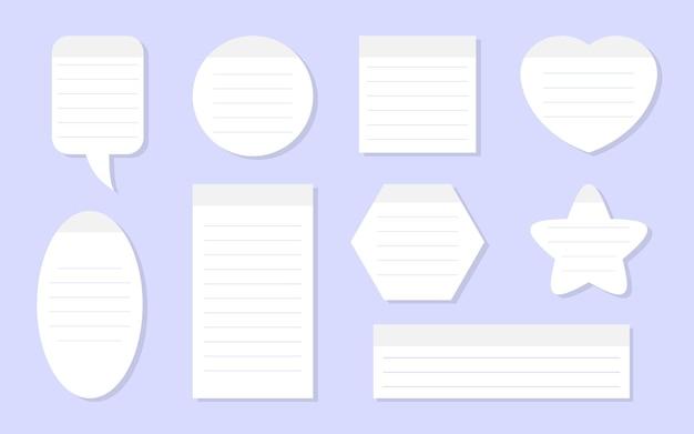 Gefütterte aufkleber für notizen stellen weiße papierschablone mit linien für den notizblock und die planung von memonotizen für die planung von erinnerungen an verschiedene formen als ellipse-herz-rund-stern-quadrat-vektorillustration ein