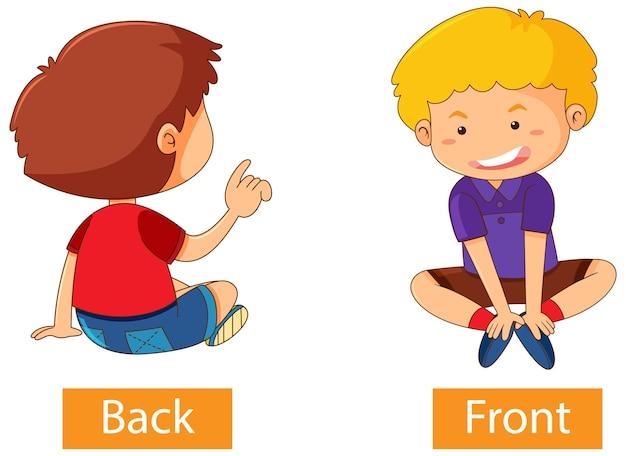 Gegensätzliche adjektive wörter mit hinten und vorne