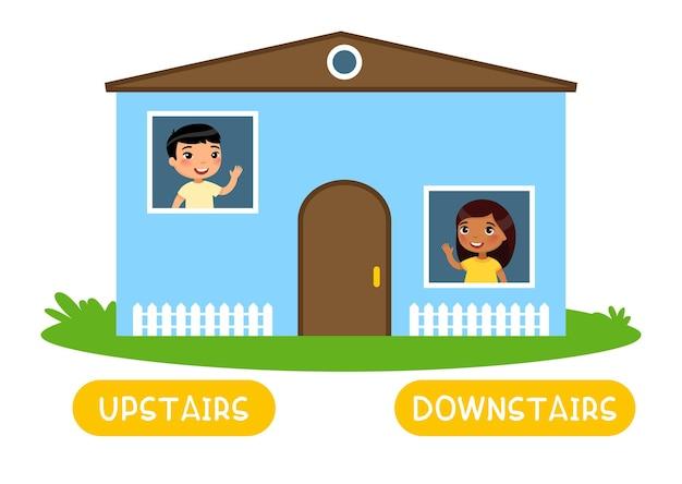 Gegensätzliches konzept uptairs und downstairs word-karte zum erlernen der englischen sprache