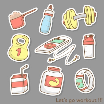Gegenstände während des trainings im fitnessstudio