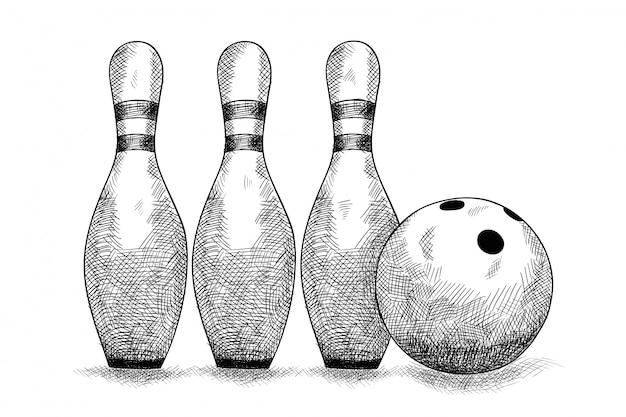 Gegenstände zum bowlen einer kugel und drei kegeln