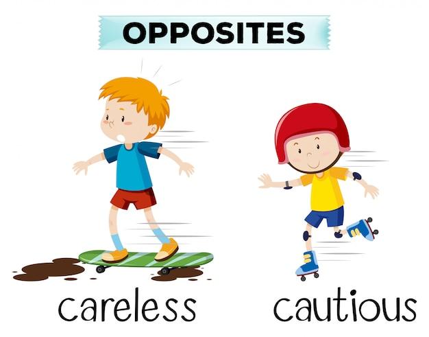 Gegenteil von sorglos und vorsichtig