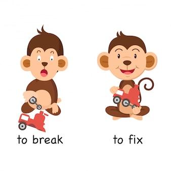Gegenteil zu brechen und vektorillustration zu reparieren