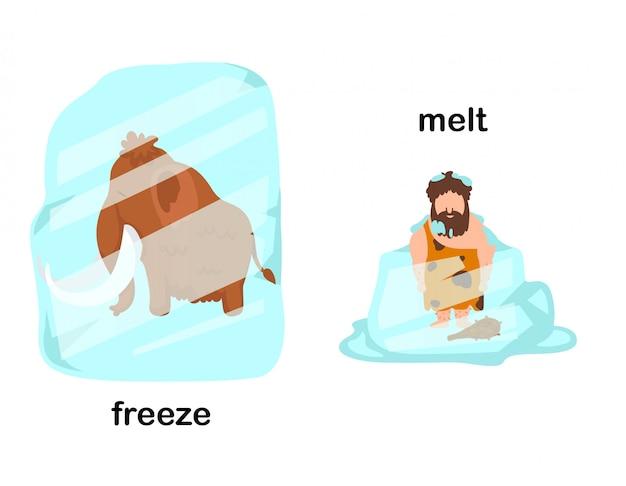 Gegenüber abbildung zum einfrieren und schmelzen