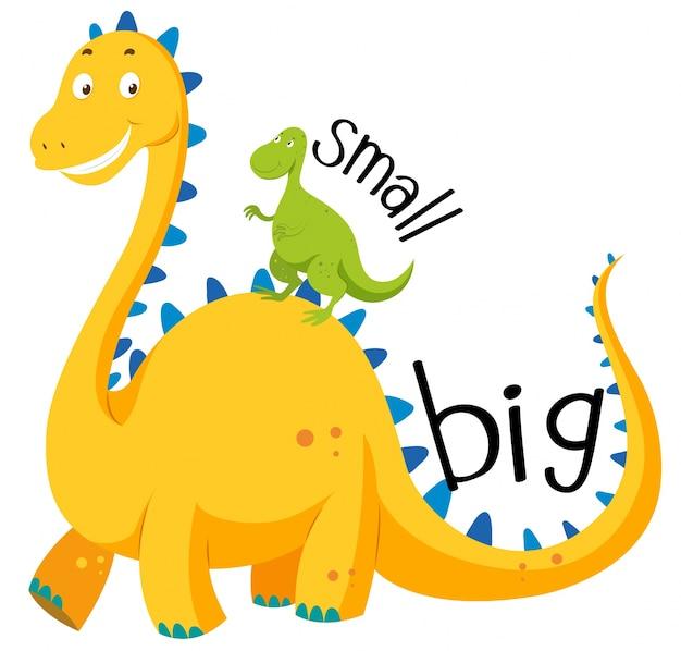 Gegenüber adjektiv groß und klein