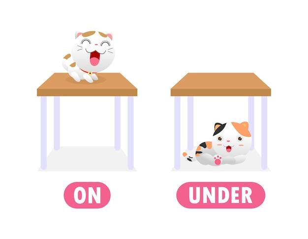 Gegenüber auf und unter, wörter antonyme für kinder mit zeichentrickfiguren niedliche kleine katze, lustiges tier flache illustration lokalisiert auf weißem hintergrund