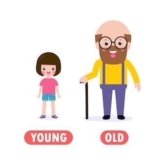 Gegenüber jung und alt, wörter antonyme für kinder mit zeichentrickfiguren glückliches süßes junges mädchen und alter mann, flache illustration lokalisiert auf weißem hintergrund