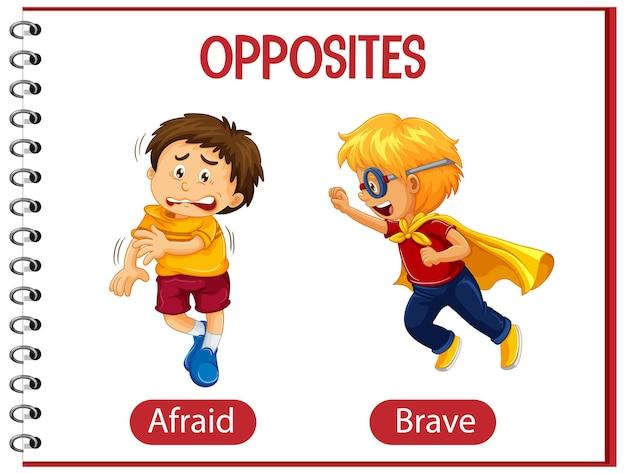 Gegenüber mit ängstlich und mutig