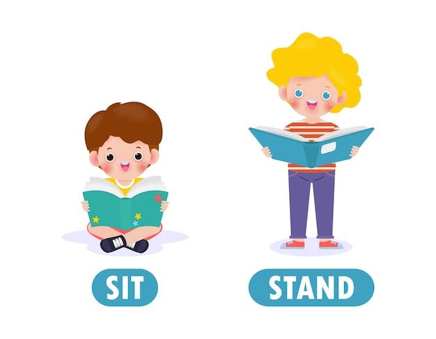 Gegenüber sitzen und stehen, wörter antonyme für kinder mit zeichentrickfiguren niedlich glückliche kinder lesebuch flache illustration lokalisiert auf weißem hintergrund
