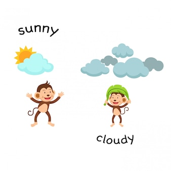 Gegenüber sonnige und wolkenvektorabbildung