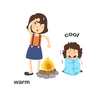 Gegenüber warme und kühle illustration der wörter