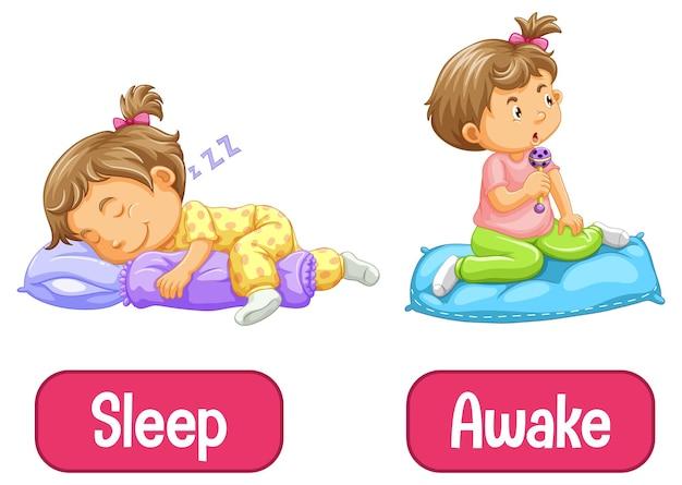 Gegenüber worte mit wach und schlafen