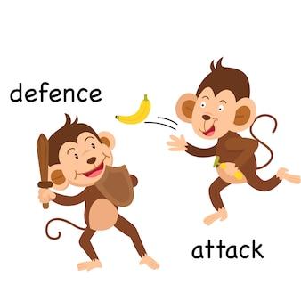 Gegenüberliegende verteidigung und angriffsillustration