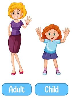 Gegenüberliegende wörter mit erwachsenen und kindern