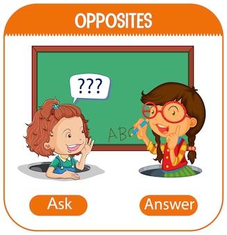 Gegenüberliegende wörter mit fragen und antworten