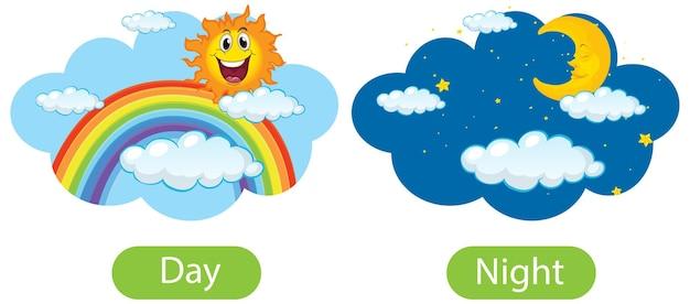 Gegenüberliegende wörter mit tag und nacht