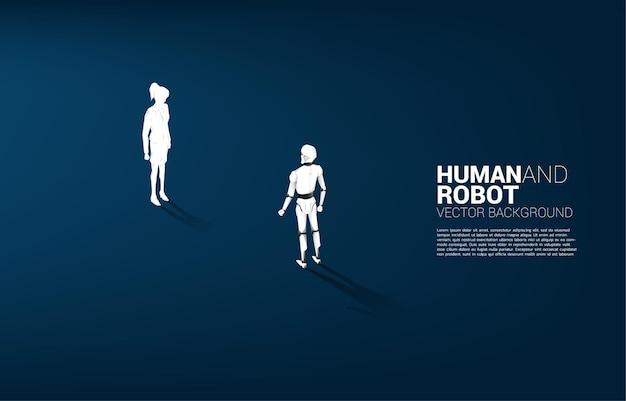 Gegenüberstellung von mensch und roboterillustration