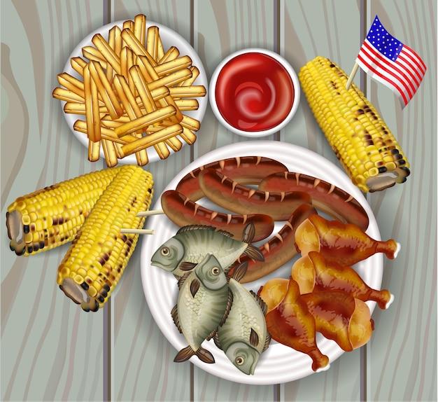 Gegrillte mais-, fisch- und pommes-frites-sammlung