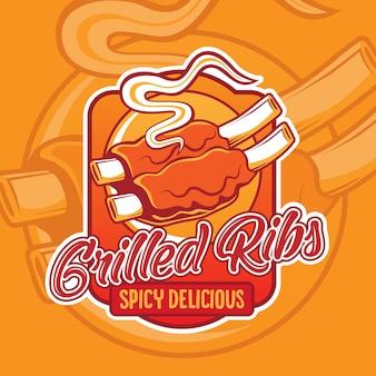 Gegrillte rippen logo design