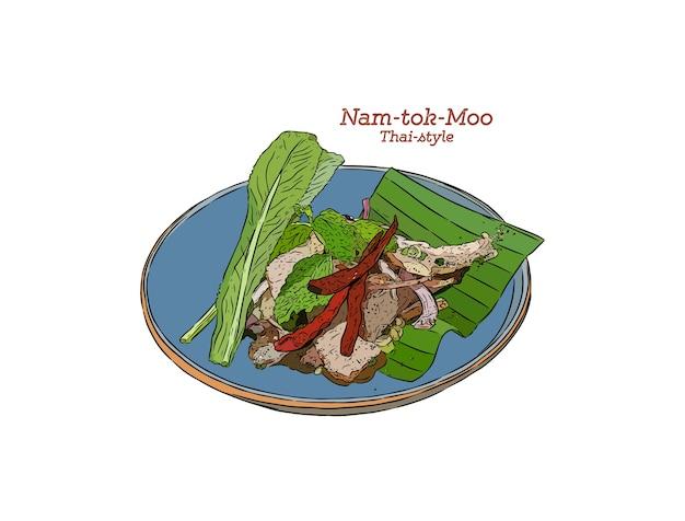 Gegrillter schweinefleisch-würziger salat thai-stil