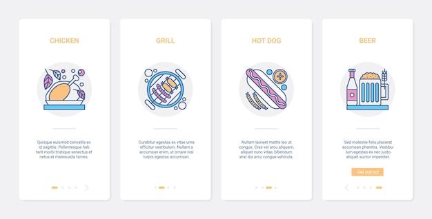 Gegrilltes fastfood und biergetränk, grillcafé-menü. ux, ui onboarding mobile app set gebackenes huhn, grillwürste, grill hotdog und alkoholisches getränk