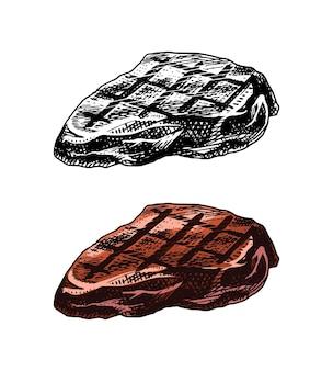 Gegrilltes fleischsteak-grill-schweinefleisch- oder rindfleischgrillfutter in der schablone der weinleseart