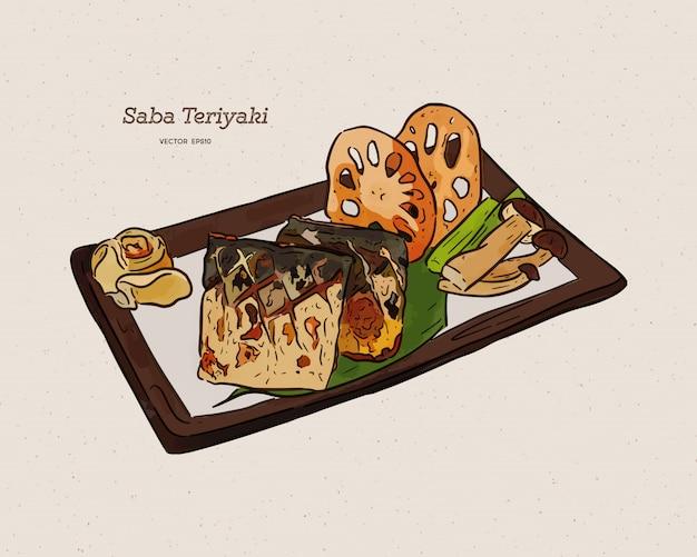 Gegrilltes saba-fischsteak mit teriyaki-soße - japanische nahrungsmittelart. hand zeichnen skizze.