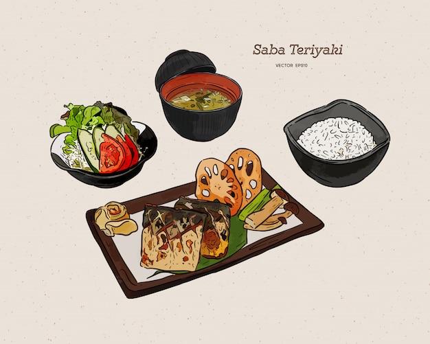 Gegrilltes saba-fischsteak mit teriyaki-soße - japanische nahrungsmittelart. skizzenvektor des handabgehobenen betrages.