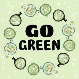 Geh grün. dekorativer kranz aus tassen grünem und kräutertee